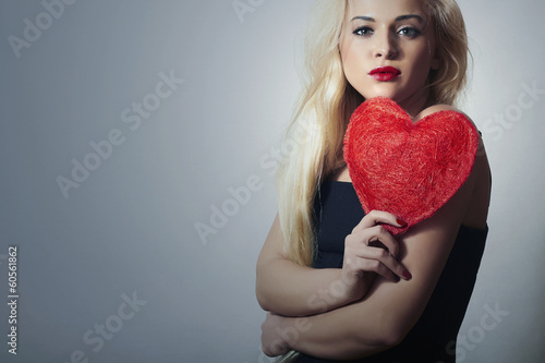Beautiful Blond Woman with Red Heart.Beauty Girl.Valentine's Day