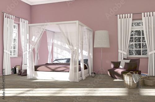 Rosa Schlafzimmer Mit Himmelbett