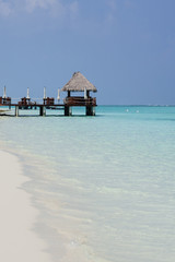 Wooden pier over a white beach in Maldive Islands
