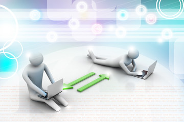 Two 3d people holding laptops are connected with arrows