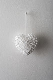 white heart made ​​of thread, element for Valentines Day or