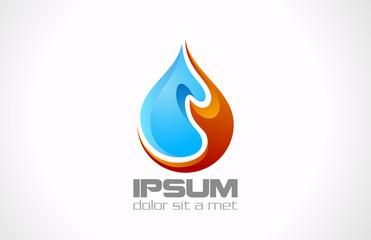 Logo Water Fire Drop vector design. Creative concept icon