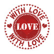 With love grunge rubber stamp