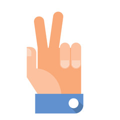Hand victory sign in flat design style