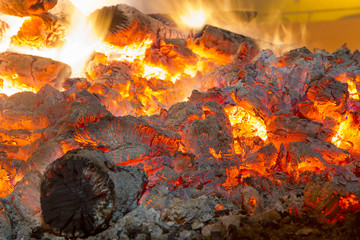 fire ashes and embers of a campfire