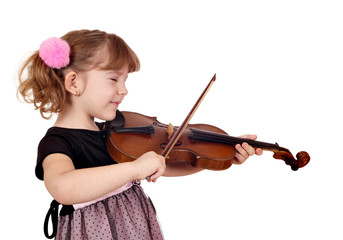 little girl enjoy while playing the violin