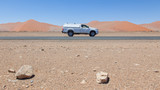 Car on a empty in the Namib desert