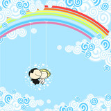 Couple sitting in a rainbow swing