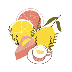 Citrus teatime. Cute and drawn illustration
