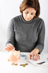 Woman counting the savings