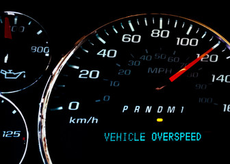 Vehicle over speed dashboard warning light