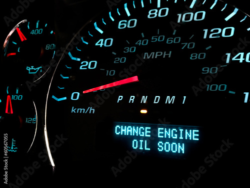 canvas print picture Change engine oil soon warning light on dashboard