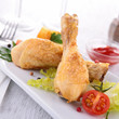 chicken leg and vegetables