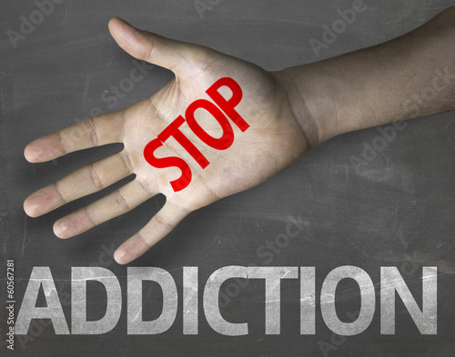 Educational composition with the message Stop Addiction
