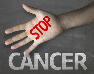 Educational composition with the message Stop Cancer