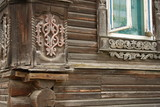 Old wooden house with carved decoration, Russia