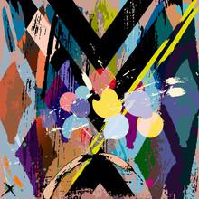 Composition abstraite de fond, avec des coups, projections et rhom