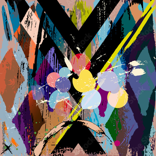 abstract background composition, with strokes, splashes and rhom