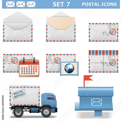 Vector Postal Icons Set 7