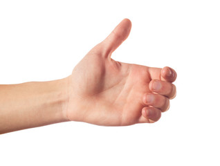 Thumb up human hand isolated