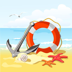 beach, anchor, lifebuoy and starfish