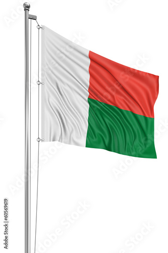 3D flag of Madagascar
