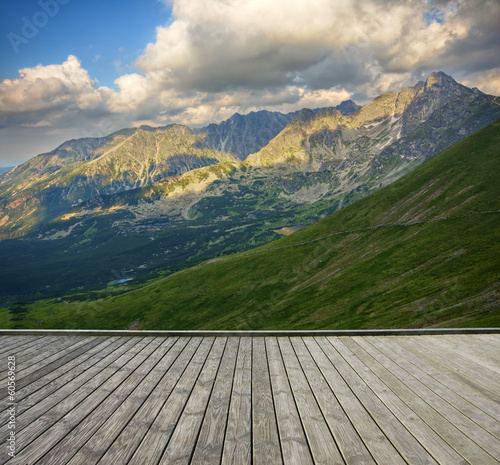 Terrace and mountain