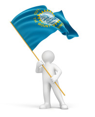 Man and flag of South Dakota (clipping path included)