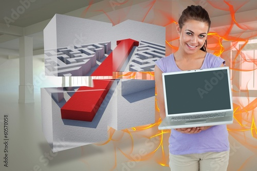 Composite image of smiling young female with her laptop