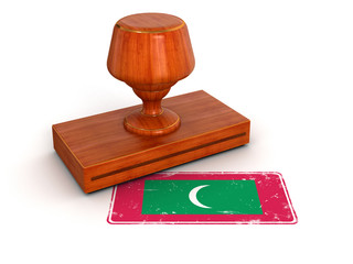 Rubber Stamp Maldives flag (clipping path included)