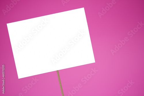 Blank white sign on a pink background