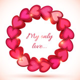 Pink vector shining frame of hearts