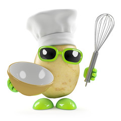 Potato makes a mix in the kitchen