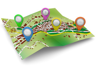 Map and GPS Concept - 3D