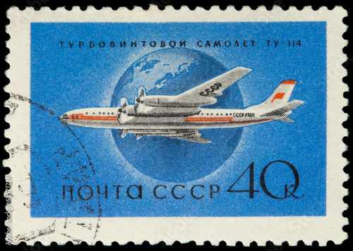 USSR - CIRCA 1958: A Stamp Printed in USSR Shows the Airplane Tu