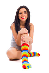 I love the Colorful Striped Socks on My Feet