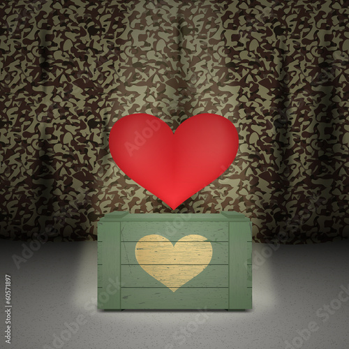 Heart on military background