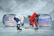 Постер, плакат: Ice hockey players in the ice
