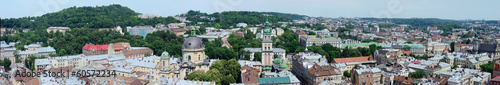 Long panorama of Lvov (Lemberg) old town,Western Ukraine
