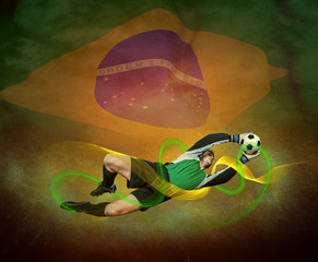 Abstract waves aroun soccer player on the national flag backgrou