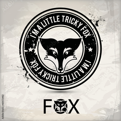 alternative black fox label / stamp on textured background