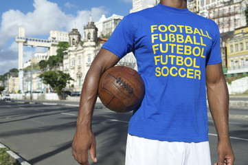 Brazilian Football Soccer Player Standing in Salvador Brazil