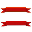 Blank red ribbon banner set, 3d