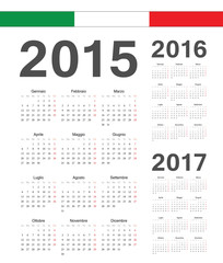 Set of Italian 2015, 2016, 2017 year vector calendars