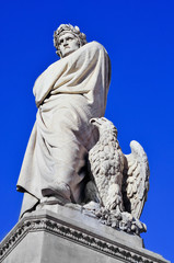 nineteenth century sculpture of Dante Alighieri in Florence, Ita