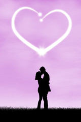 Silhouette of romantic couple 3