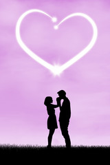 Silhouette of romantic couple 4
