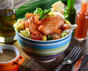 Salmon salad bowl