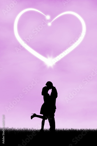 Silhouette of romantic couple 2