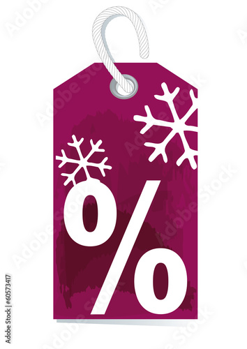 decorative price label, percentage sign, winter sale